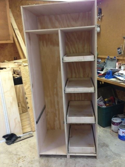 diy freestanding pantry with pullout drawers wilker do 39 s. Black Bedroom Furniture Sets. Home Design Ideas