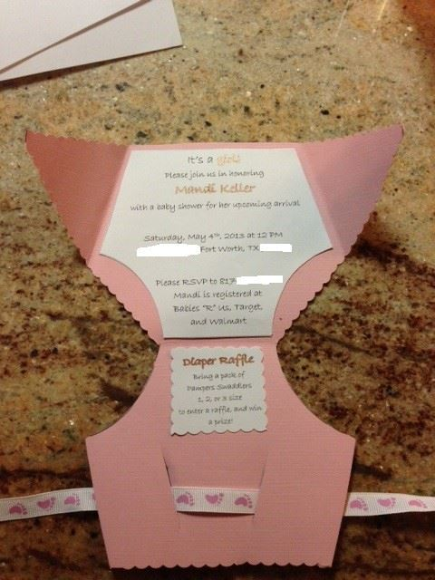 Diy Baby Shower Diaper Invitations DIY Diaper Baby...
