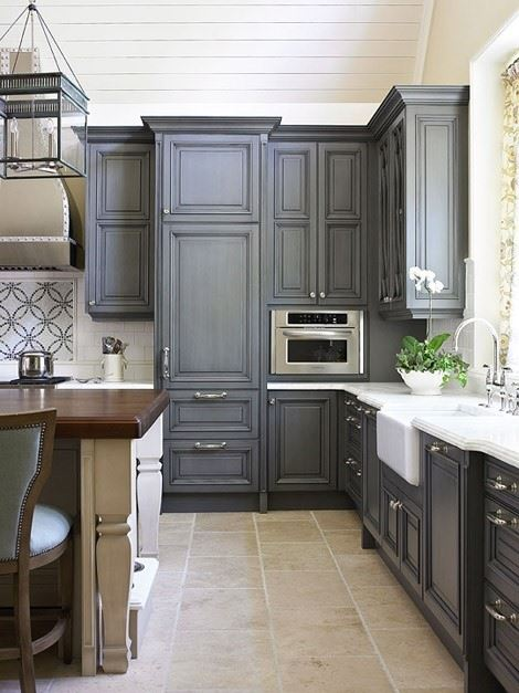 from this point on i am going to refer to this photo as the dream cabinets  i love the gray with a hint of blue  i love the flat color  using chalk paint to refinish kitchen cabinets   wilker do u0027s  rh   wilkerdos com