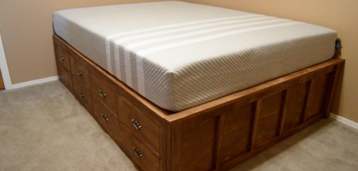 diy queen bed frame with drawer storage wilker do 39 s. Black Bedroom Furniture Sets. Home Design Ideas